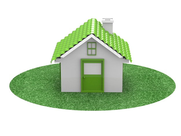 Green mockup house or model house on white background