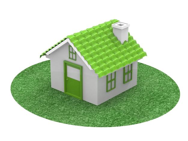 흰색 바탕에 녹색 모형 집 또는 모델 하우스