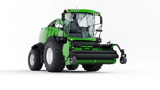 Green modern combine on a white background. 3d rendering.