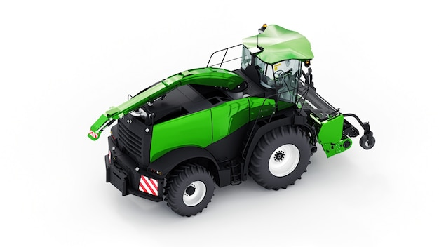 Green modern combine on a white surface