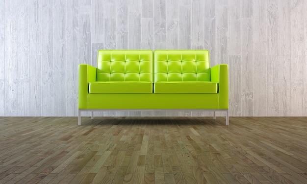 寄木細工の床とコンクリートの壁と最小限の部屋で緑のモダンなソファ