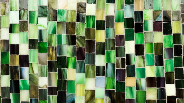 Green mosaic of tile shapes texture