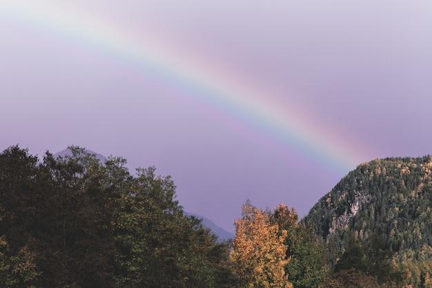 Green mountain under rainbow