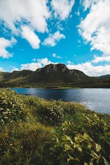 緑の山々と青い空