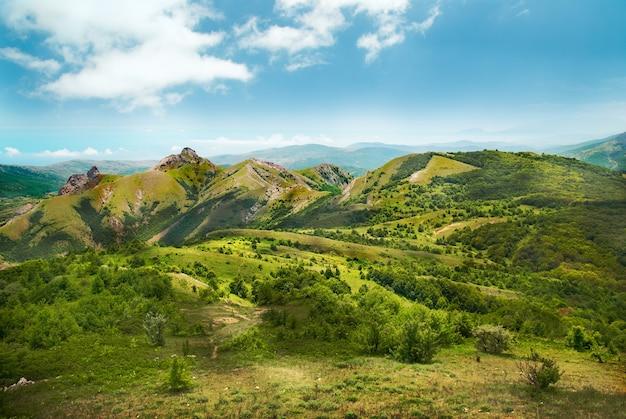 青い空を背景に森に覆われた緑の山々