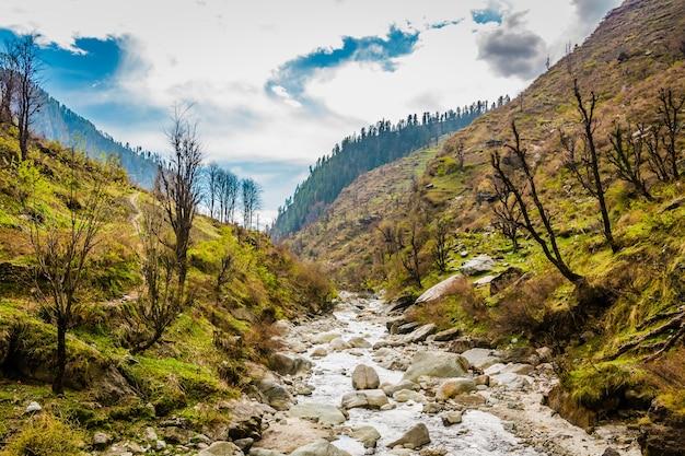ヒマーチャルプラデーシュ州の古代インドの村マラナの緑の山々