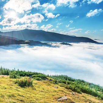 雲の中の緑の山々。日没時の霧の中の緑の丘の風景ビュー