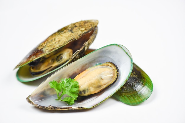 Green mussel shell with parsley