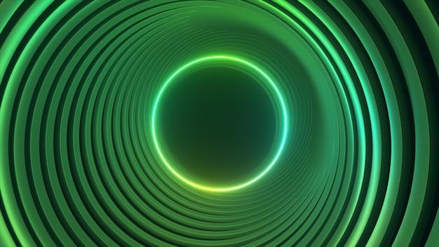 Зеленый неоновый круг абстрактное футуристическое движение высоких технологий