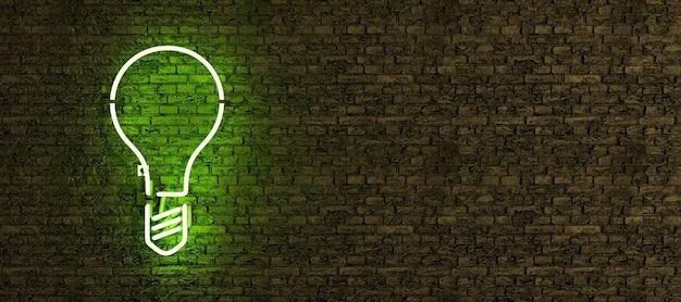 복사 공간 벽돌 벽에 전구 기호로 녹색 네온 램프
