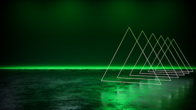 Green neon light  with blackground, and concrete floor,  3d render