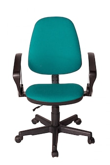 Green office armchair isolated on white.