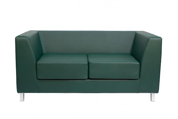 Green office sofa isolated on white