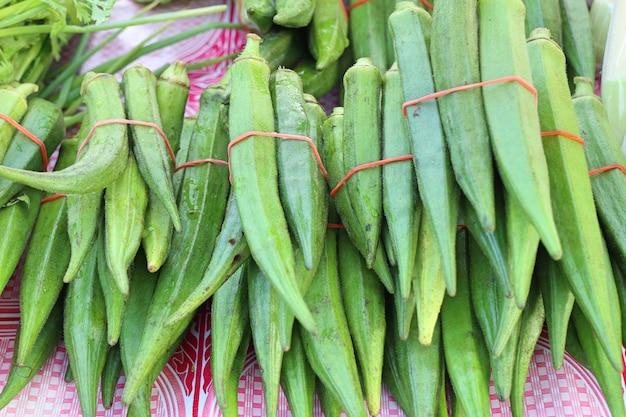 Green okra in market