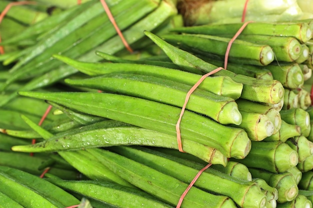 Green okra in market