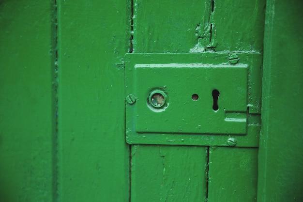 Green old door lock