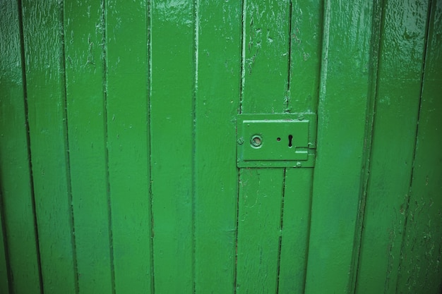 Green old door lock