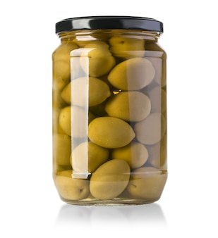 Green olives on a white in bottle