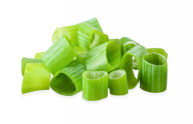 Green onion isolated on white clipping path