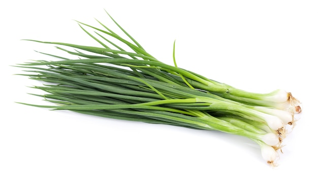 Green onion isolated on the white surface