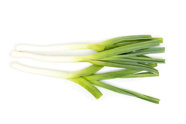 Green onion, spring onion, scallion isolated on white .