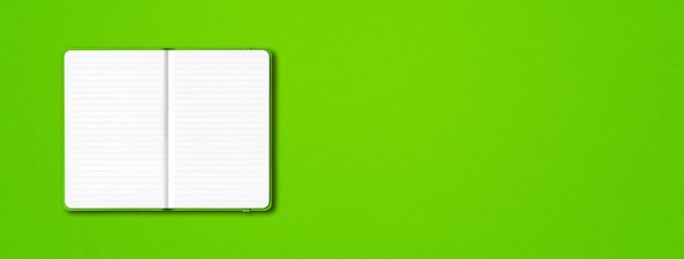Green open lined notebook mockup isolated on colorful background. horizontal banner