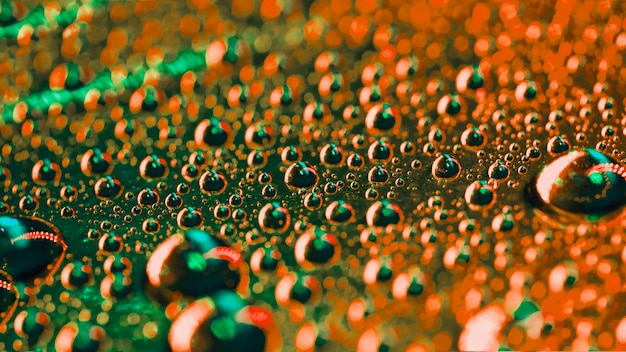Green and an orange water bubbles detail background