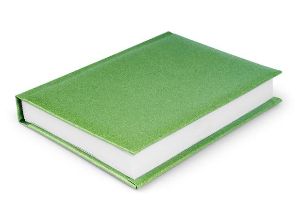 Зеленый организатор спираль блокнот бумажная книга, изолированные на белом фоне