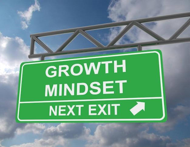 Зеленый надземный дорожный знак с мышлением роста