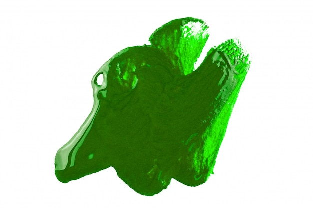 Green paint on white background