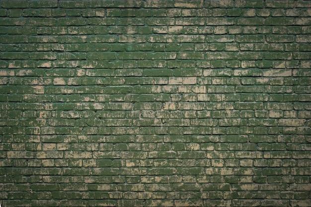 녹색 페인트 세 그런 지 벽돌 벽 질감 배경입니다.