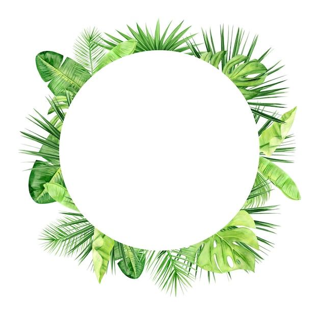 Зеленая рамка из пальмовых листьев и цветов. тропическое растение. ручная роспись акварель иллюстрации, изолированные на белом.