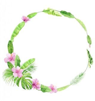 緑のヤシの葉と花の花輪。熱帯植物。手描きの水彩画のイラストが白い背景で隔離。リアルな植物アート。結婚式の招待状やソーシャルメディアの投稿