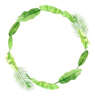 Зеленые пальмовые листья и венок цветов. тропическое растение. ручная роспись акварель иллюстрации, изолированные на белом.
