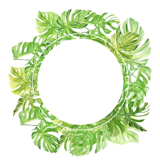 Green palm leaves and flowers frame. tropical plant. hand painted watercolor illustration isolated on white.