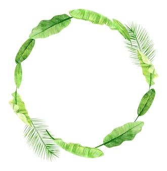 Green palm leaves and flowers wreath. tropical plant. hand painted watercolor illustration isolated on white.
