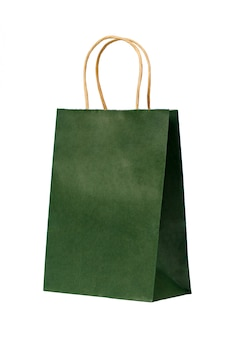 Green paper bag with handles isolated. copy space
