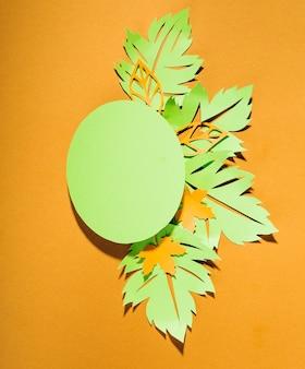 타원형 아래 녹색 종이 전단지