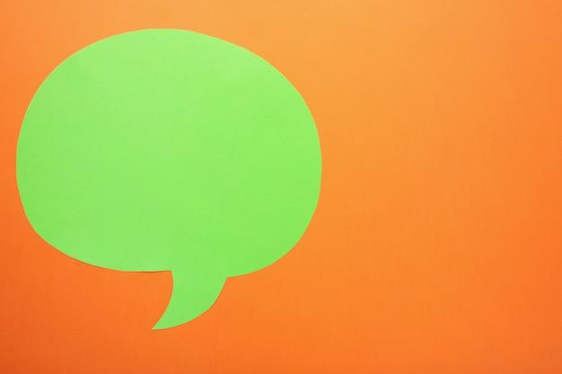 オレンジ色の背景に緑色の紙吹き出し