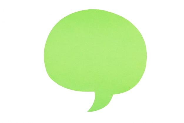 Зеленые бумажные пузыри речи, изолированные на белом