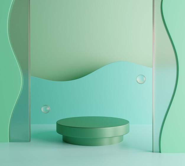 제품 모형에 대한 녹색 붙여 넣기 연단 배경입니다. 3d 렌더링 premium photo