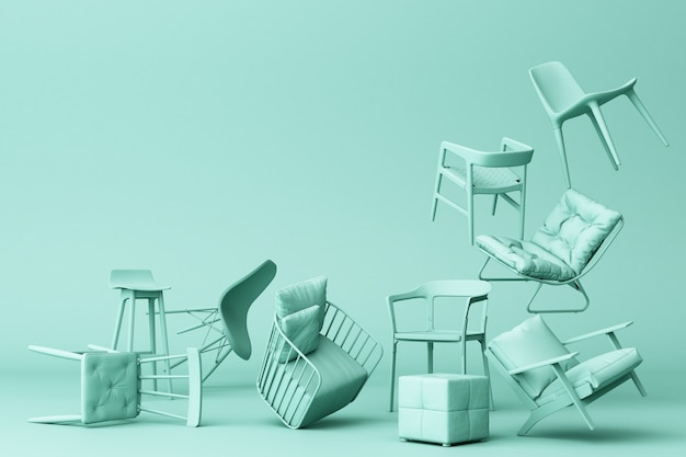 Green pastel chairs in empty green background concept of minimalism & installation art 3d rendering