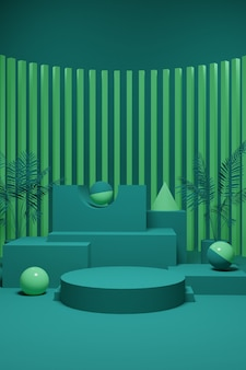 Green pastel podium scene for product presentation