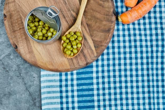 Green pea beans in a metallic can.