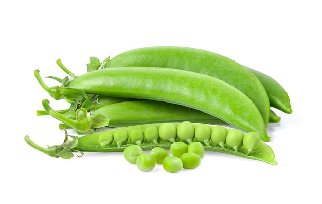 Green peas isolated on white surface