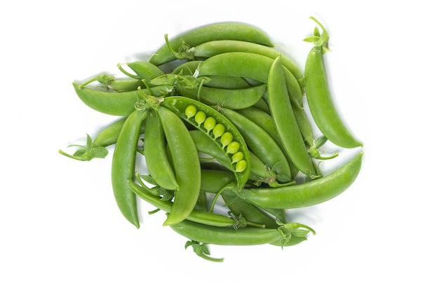 Green peas (string bean) on white background,top view.