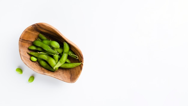 Green peas with copy space background