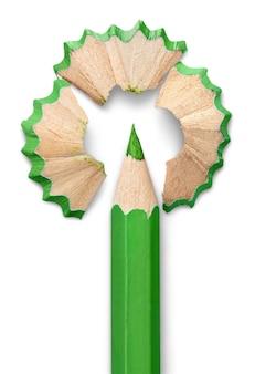 녹색 연필 흰색 절연입니다.