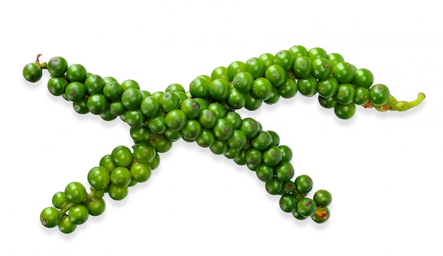 Green pepercorn isolated on white clipping path