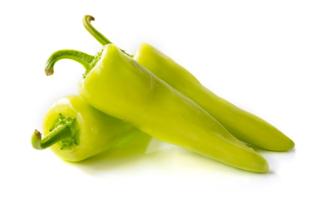 Green peppers (cubanelle) side view isolated